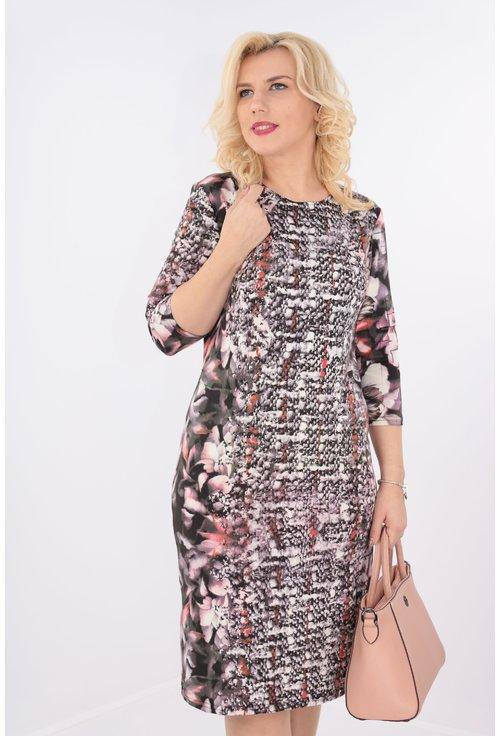 Rochie multicolora cu bordura verticala