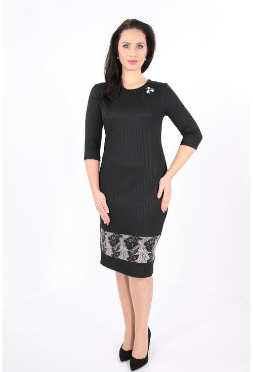 Rochie neagra cu bordura florala la tiv