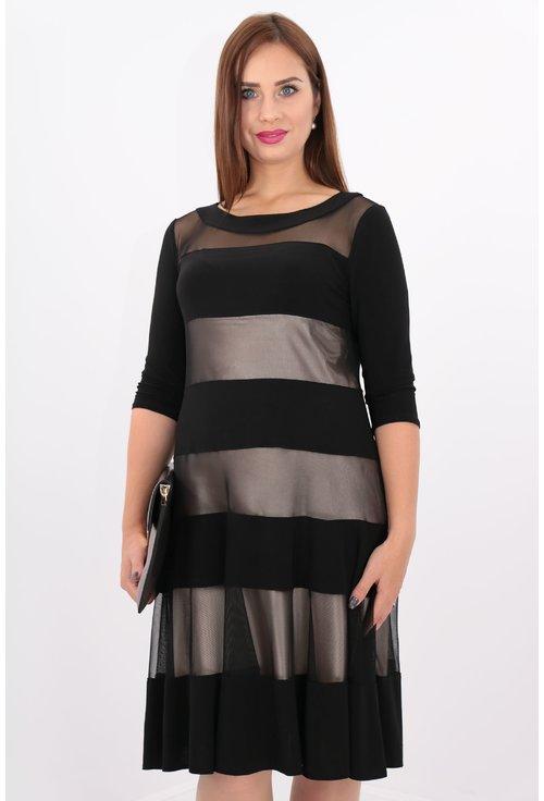 Rochie neagra cu dungi mate si transparente