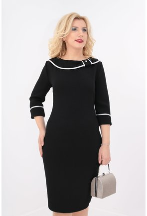 Rochie neagra cu garnitura alba