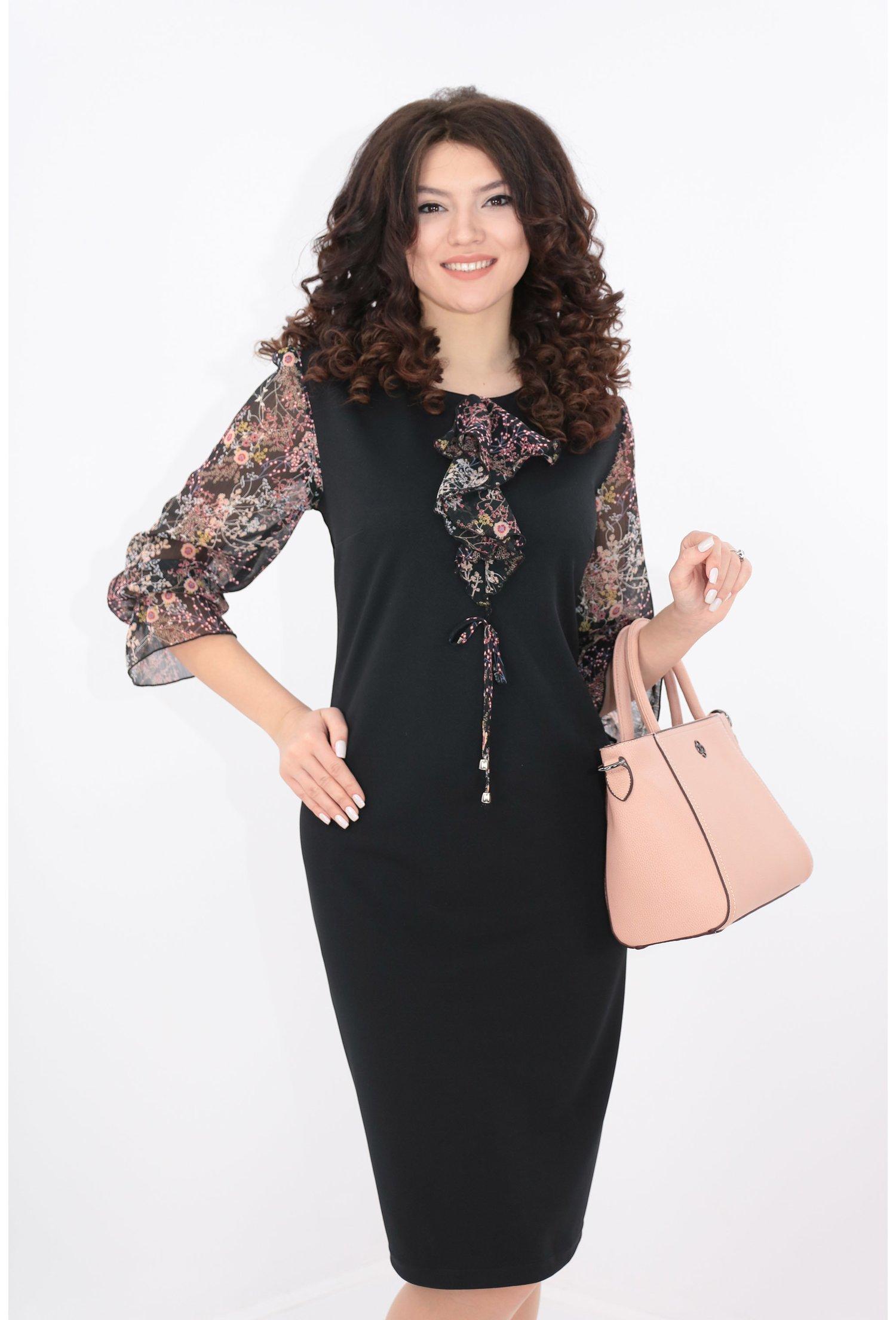 Rochie neagra cu maneci din voal cu print floral