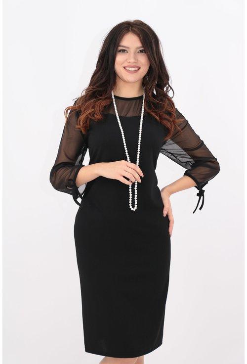 Rochie neagra cu tull elastic