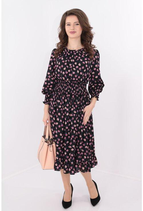 Rochie neagra de zi cu print floral roz