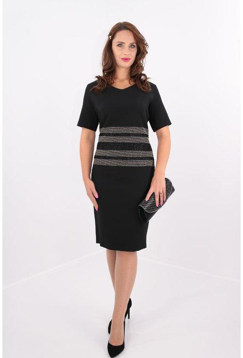 Rochie neagra din stofa elastica cu model in talie