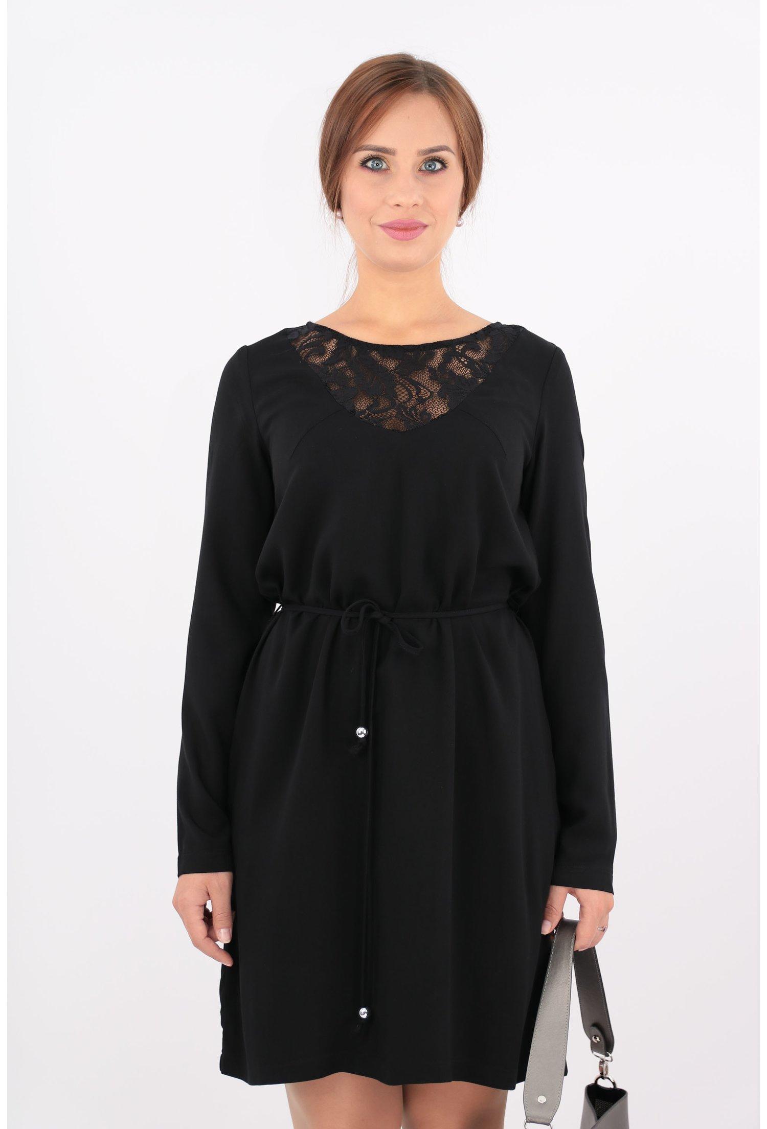 Rochie neagra din vascoza cu cordon in talie