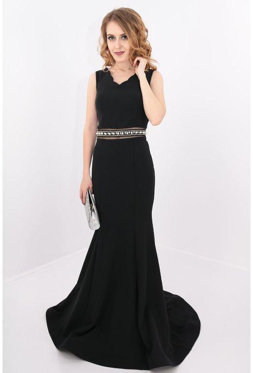 Rochie neagra lunga cu perle