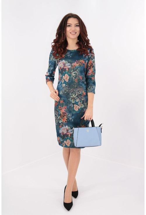 Rochie office bleumarin cu desen floral