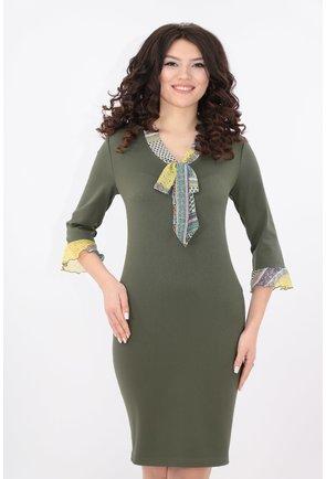 Rochie olive cu esarfa colorata