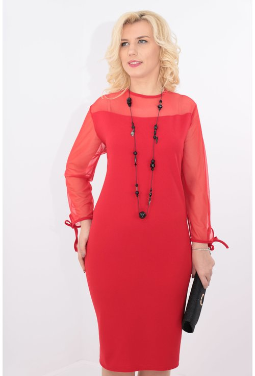 Rochie rosie cu tull elastic