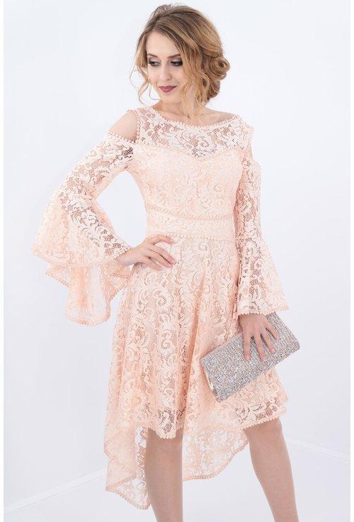 Rochie roz asimetrica din dantela