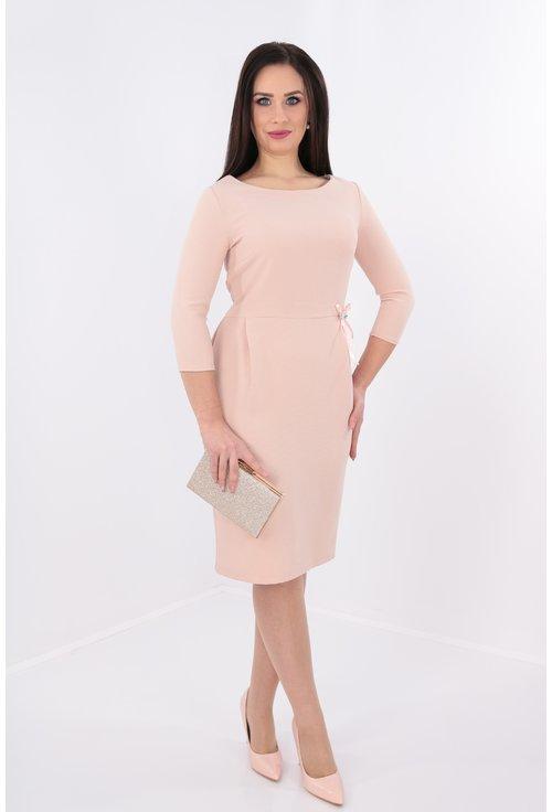 Rochie roz cu fundita in talie