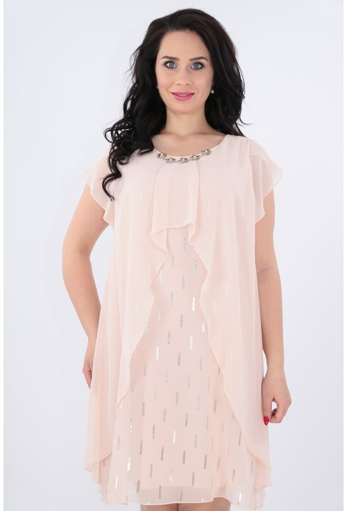 Rochie roz cu pelerina lunga asimetrica