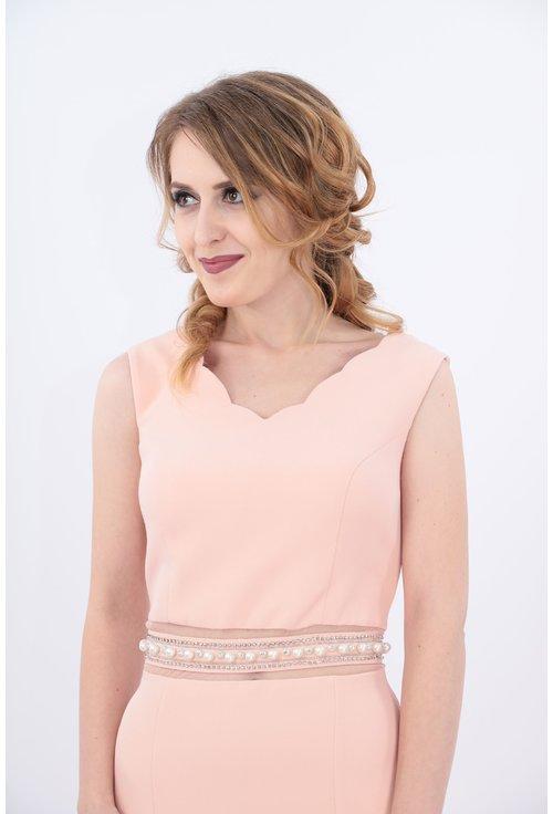 Rochie roz lunga cu perle