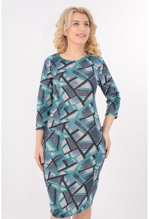 Rochie turcoaz cu print geometric