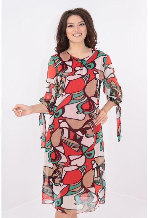 Rochie vaporoasa din voal cu print abstract rosu-verde