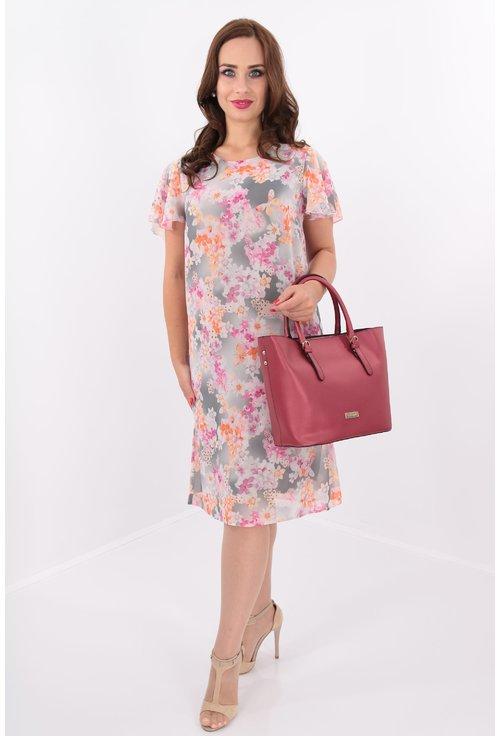 Rochie vaporoasa din voal cu print floral roz
