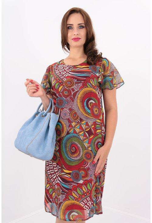 Rochie vaporoasa din voal cu print multicolor