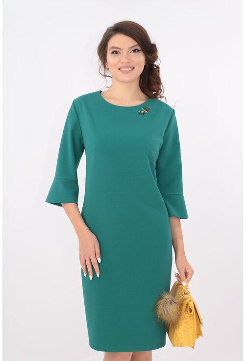 Rochie verde cu broderie la decolteu