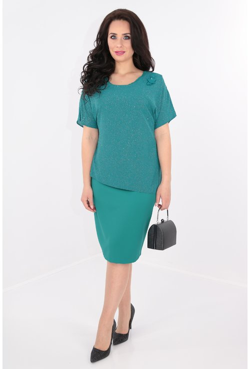 Rochie verde cu capa din lurex