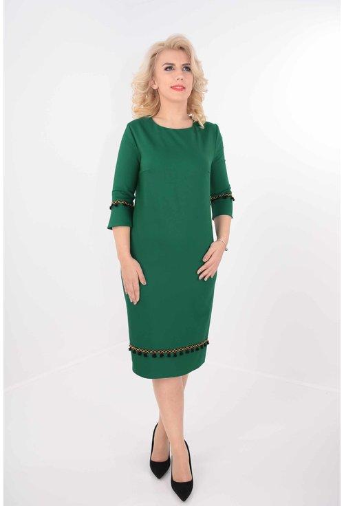 Rochie verde cu ciucuri