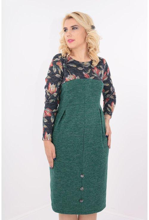 Rochie verde cu desen floral