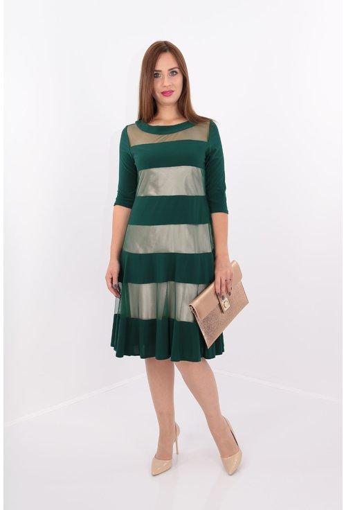Rochie verde cu dungi mate si transparente