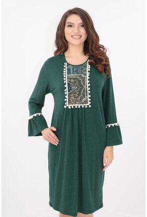 Rochie verde cu motive traditionale si ciucuri crem