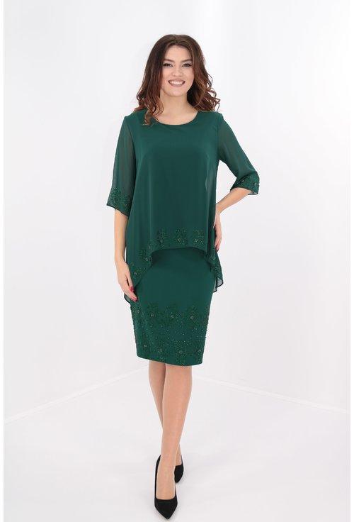 Rochie verde cu pelerina si strasuri