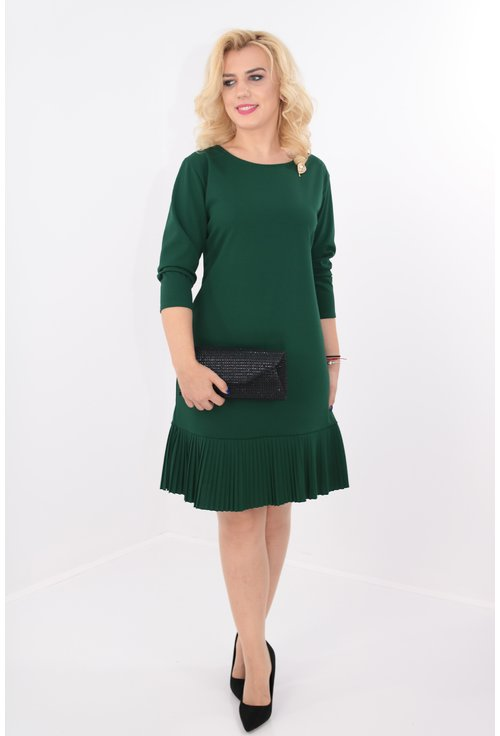 Rochie verde cu volan plisat