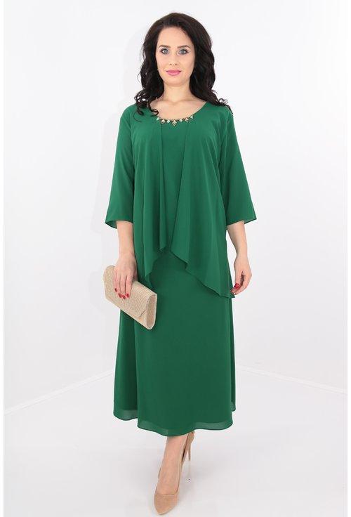 Rochie verde din triplu voal
