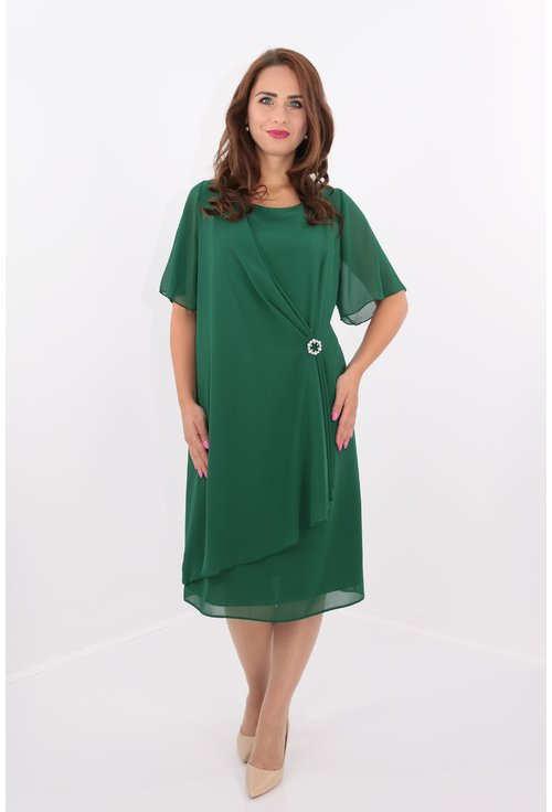 Rochie verde din voal drapat