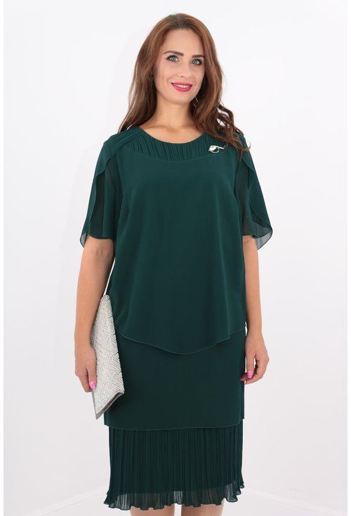 Rochie verde din voaluri suprapuse si voal plisat
