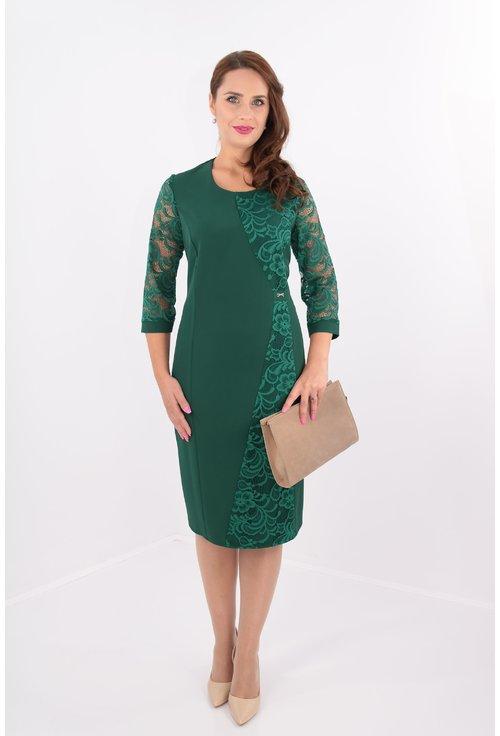Rochie verde dreapta cu dantela aplicata