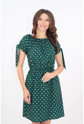 Rochie verde-smarald cu buline albe