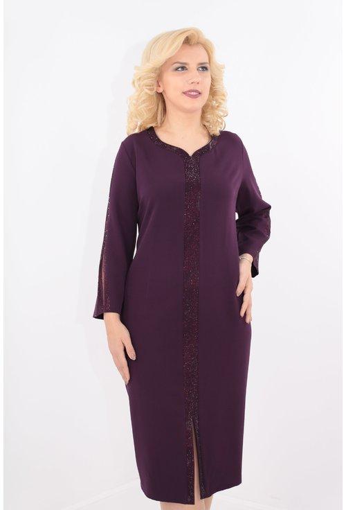 Rochie violet cu banda cu strasuri