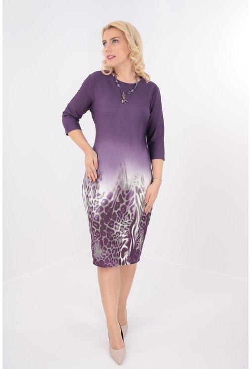Rochie violet cu bordura gri