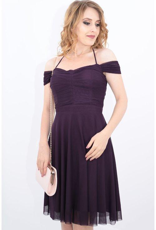 Rochie violet cu bust plisat