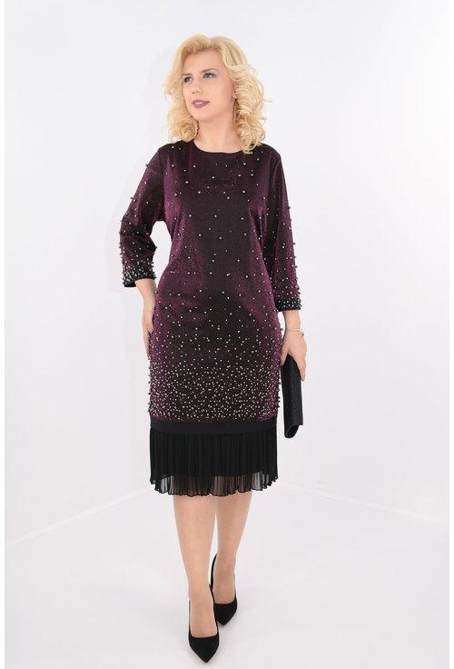 Rochie violet cu perle argintii si strasuri