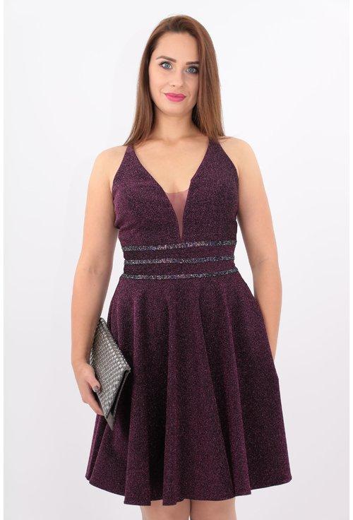 Rochie violet din lurex cu benzi decorative in talie