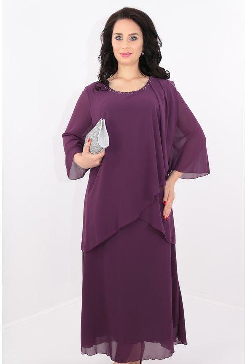 Rochie violet din voal cu strasuri argintii