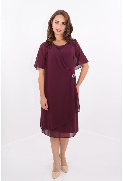 Rochie violet din voal drapat