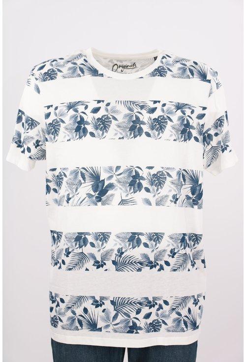 Tricou Jack&Jones alb cu print floral
