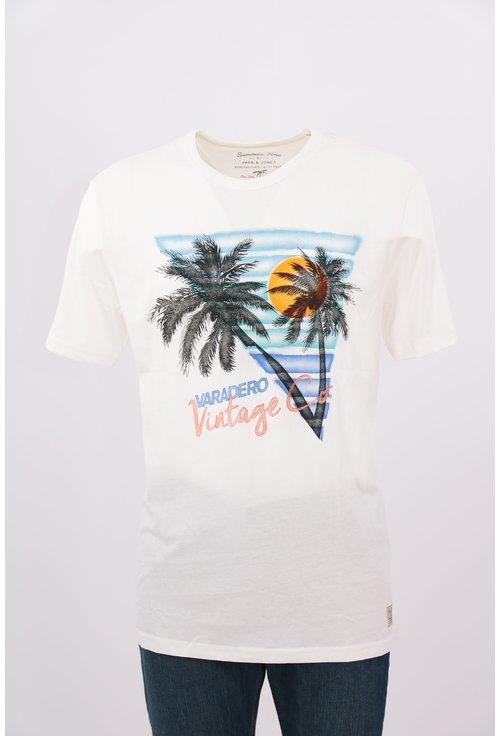 Tricou Jack&Jones alb cu print tropical