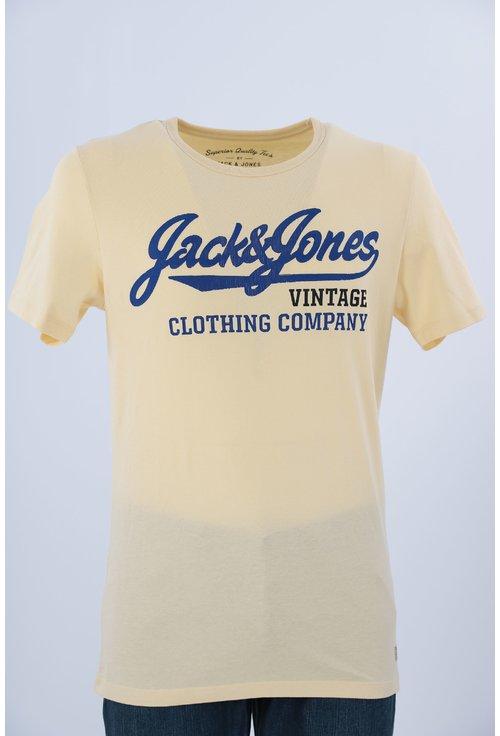 Tricou Jack&Jones galben cu imprimeu text
