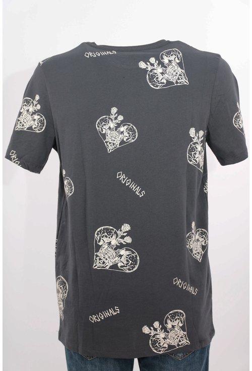 Tricou Jack&Jones gri cu print grafic