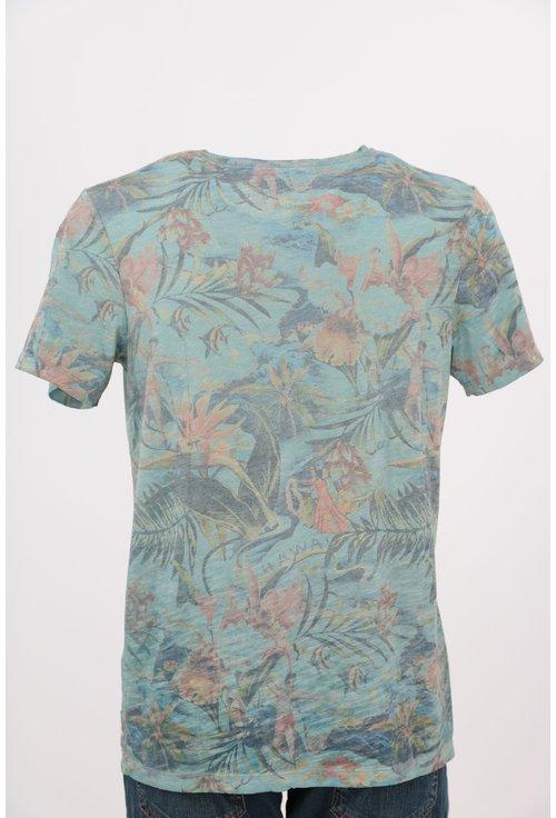 Tricou Jack&Jones vernil cu print floral