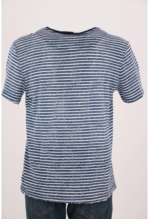 Tricou Loft albastru cu dungi albe