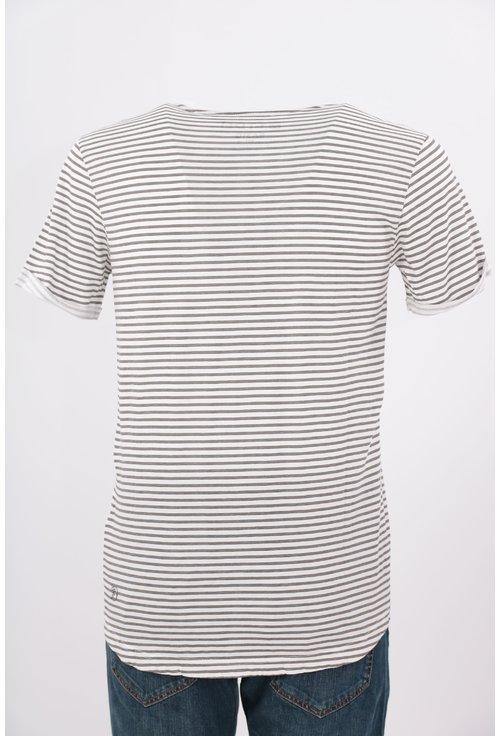 Tricou Tom Tailor alb cu dungi gri