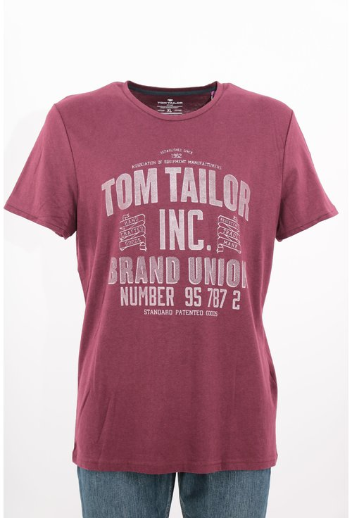 Tricou Tom Tailor grena cu imprimeu text