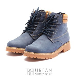 Ghete casual din piele naturala nabuc Leofex- 227 blue